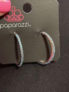 Paparazzi Dont Think Twice - Blue  Rhinestones - Hoop Earrings