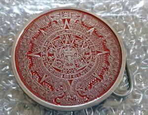AZTEC CALENDAR THEMED RED GRAY COLOR BELT BUCKLE BERGAMOT BRASS WORKS USA MADE