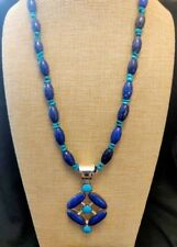 """Jay King Lapis and Angel Peaks Turquoise 20"""" Pendant Necklace NWT"""