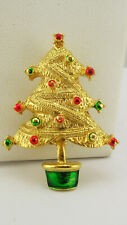 """Kenneth Jay Lane Enameled Holiday Tree Pin """"Couture Collection"""""""