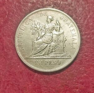 GUATEMALA 1894 SILVER PESO ~ KM 166 ~ SEATED LIBERTY ~ LOVELY ABOUT UNCIRCULATED