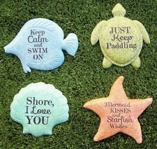 Garden Path Beach Stepping Stone Wall Plaque Nautical Creatures Set of 4 NEW 7""