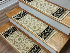 """Ivory Stair Treads by Rug Depot - Set of 7 Wool Non Slip Carpet Treads 26"""" x 9"""""""