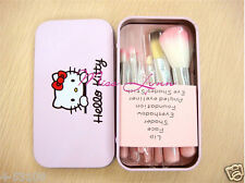 7pcs/sets Pink Hello kitty Makeup brush suit Cute cartoon box New style