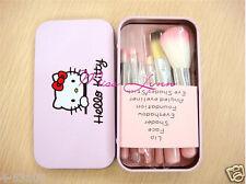 7pcs/sets Pink Hello kitty Makeup brush suit Cute cartoon box New style