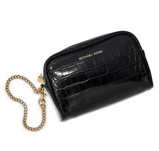 NEW MICHAEL KORS CROC EMBOSSED LEATHER WRISTLET CLUTCH BLACK WITH GOLD CHAIN