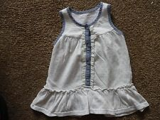 baby girls top - cotton cream with blue trim pink spots - age 3-6 months