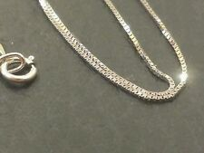 "14k Solid White Gold Classic Box Necklace Pendant Chain 18"" Best price!!"