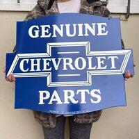 "VINTAGE CHEVROLET 24"" PORCELAIN SIGN GAS STATION OIL GENUINE PARTS GM PUMP PLATE"