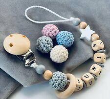 Schnullerkette mit Namen ♥ Mädchen Junge Stern & Häkelperle ★ Ring Natur Grau