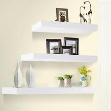 3PC Set Home Office Floating Wall Photo Display Bookshelf Storage Shelves White