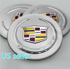 4X Fit Cadillac Silver ACRYLIC Aluminum WHEEL CAPs EMBLEM Stickers 56mm NEW