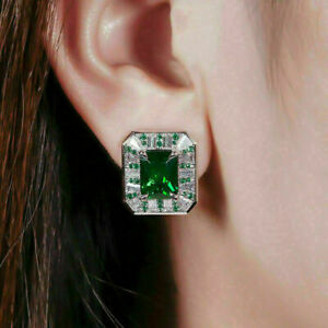 4 Ct Radiant Cut Emerald & Diamond 14K White Gold Finish Stunning Stud Earrings