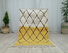 Moroccan Handmade Vintage Rug 3'2x4'9 Berber Geometric White Yellow Wool Rug