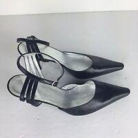 Charles Jourdan Paris Black Close Toe Ankle Strap 7 Kitten Heels