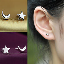 Silver Plated Star and Moon Stud Earrings for Women Girl Fashion Jewelry Gift LJ