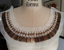 "12"" EGYPTIAN Neckline STUDDED Applique OLD BRASS - GOLD"