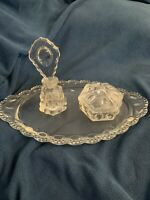 Vintage 1940's LE Smith Beaded Medallion Glass Vanity Set 5 Pieces