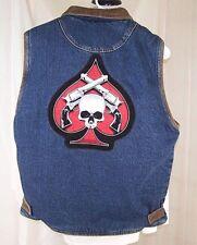 WRANGLER HERO Skull Spade Cross Pistols Blue Denim Jean Vest Faux Sherpa Small