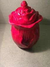 "Red Ceramic Round Vase or Urn with Lid 10"" Tall"