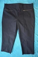 Rockmans Size 20 Navy Capri Pants Sateen Look rrp$39.99 NEW Zip Trim Stretch