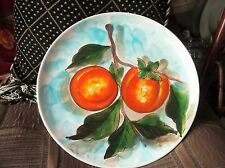 VINTAGE BOLD VIBRANT HIGH GLAZED DISPLAY PLATE PEACHES ON BRANCH MANCIOLI ITALY