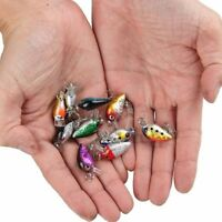 10PCS Fishing Baits Hooks Minnow Fish Lures Crank Bass Crankbaits Tackle Sinking
