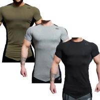 Men Fashion Gym Bodybuilding T-shirts Short Sleeve Fitness Muscle Fit Tee Tops