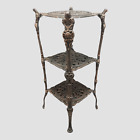 "Victorian Style Cast Iron Bronze & Black Finish 3 Tier Plant Stand 25"" h x 9.5 W"