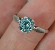 Vintage 9ct White Gold & 1.25ct Blue Zircon Solitaire Ring d0302