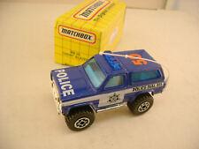 1993 MATCHBOX SUPERFAST MB 50 CHEVY BLAZER STATE POLICE CAR DIAL 911 BLU WINDOWS