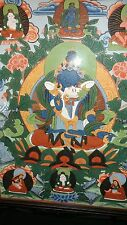 """framed under glass Thangka Painting of Vajradhara w consort 17.5"""" W x 24.5"""""""