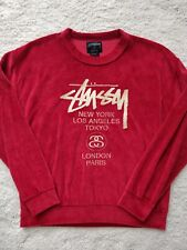 Stussy World Tour Women Velour Crewneck Jacket Sweatshirt Jumper Red Embroidered