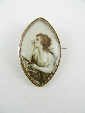 Risqué 18th Century Sepia Painted Wistful Maiden Gold Navette Mourning Brooch