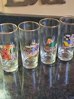 Vintage German Cartoon Beer Glasses Set Of 4