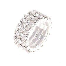 Toe Ring Elastic 3-Rows rhinestones clear Wedding Jewelry 9mm N4A1