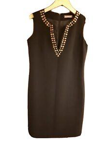 M&S PORTFOLIO BLACK FIT LADIES WOMENS ELEGANT DRESS STONES CRYSTALS UK 10 S