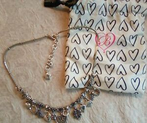 "Brighton Silver Plated Charm Love Rocks Necklace Hearts Padlock Key J44532 18"""