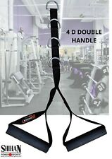 4 D DOUBLE Stirrup Handle Multi Gym Cable Machine Attachment Pull Down Weight