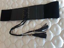 Black Elastic Belt With Lace Up Detail Popper Stud Back