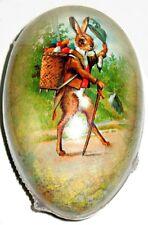 """Vintage Paper Mache Easter Egg (3X2.5"""") Gentleman Hare Mint/Sealed German Made"""