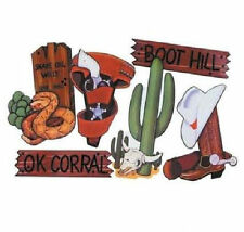 6 Large Card Wild West Saloon Cowboy Themed Party Decorations Cactus Snake