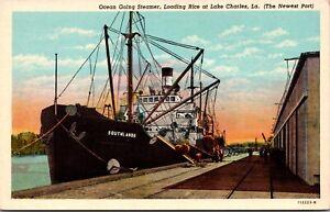 Postcard Ocean Going Steamer Loading Rice in Lake Charles, Louisiana~135734