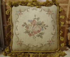 "12"" OLD VINTAGE ANTIQUE Petit Point Needlepoint Rose Shabby Pillow Cushion"