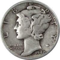 1942 D 10c Mercury Silver Dime US Coin VF Very Fine
