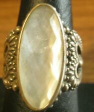 silver ring size 8 with a mother of pearl  stone