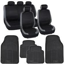 "13pc Seat Covers & Rubber Mats for Car Black/Gray w/ High-Grade Mats ""Venice"""