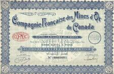 Canada Gold Mines France Bond COFMOC 1929 100 fr Uncancelled all coupons EF