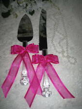 Wedding Supplies Elegant Cake Knife & Server Fushcia