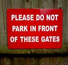 NO PARKING GATES SIGN 40cm x 30cm Non Bend 5mm thick Plastic Superior Quality